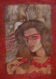 Tastes Red / Colored Pencils, Combination Technique / 19.5 x 28 in #art #colorpencils