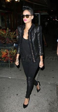 Rihanna wearing Balmain Peak-Shouldered Leather Jacket, Jil Sander Sculpted Pumps, Yigal Azrouel Leather-Knee Pants and Alice + Olivia Loose Racer Back Tank.