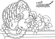 Pintura em Tecido | Aula Grátis | Cesta com Frutas | Rosas com Pássaros e Stencil | Loja da Márcia Embroidery Transfers, Embroidery Patterns, Colouring Pages, Coloring Books, Stencil Printing, Digi Stamps, Line Drawing, Easy Drawings, Adult Coloring