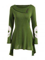 Skull Lace Spliced Asymmetric Dress (GREEN,XL)   Sammydress.com Mobile