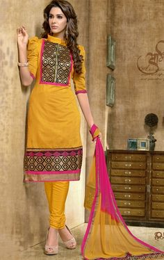 Picture of Stunning Yellow Indian Churidar Kameez