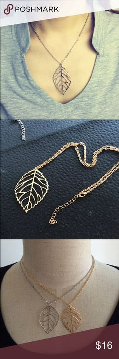 Gold leaf necklace New, never worn. Beautiful gold leaf necklace. Also available in silver, see separate listing. Thank you for visiting my closet, please let me know if you have any questions, I offer great discounts on bundles 💕 lucy6mahon Jewelry Necklaces