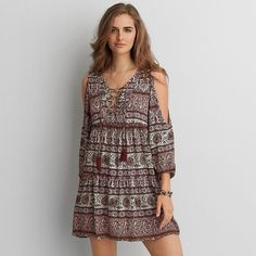 AEO Lace-Up Long Sleeve Dress ($37) ❤ liked on Polyvore featuring dresses, multicolored, floral dresses, multi color dress, american eagle outfitters, floral print dress and rayon dress