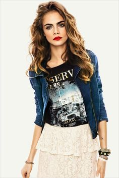 Black Printed Tee Underneath A Blue Leather Jacket, Paired With An Off-White Skirt. Quite Lovely Don't You Think?