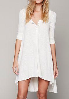 White Plain Irregular Buttons Elbow Sleeve Casual Cotton High-Low Dress