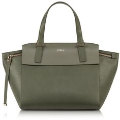 Furla Dolce Vita Sage Green Leather Tote ($548) ❤ liked on Polyvore featuring bags, handbags, tote bags, green, leather tote, genuine leather handbags, zip top tote bag, furla tote and leather handbags