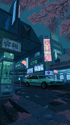 pixel art by waneella Wallpaper City, Anime Scenery Wallpaper, Future Wallpaper, Wallpaper Backgrounds, Animes Wallpapers, Live Wallpapers, Wallpapers Games, Wallpapers Android, Aesthetic Art
