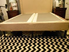 faux bedframe fabric wrapped box spring with furniture legs