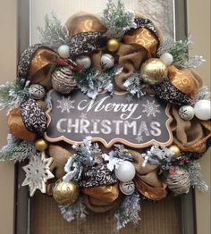 """WOODLAND HOLIDAY II"" - Rustic & Metallic Woodland Holiday Christmas Wreath Decoration by DecorClassicFlorals, $ 159.95 on Etsy"