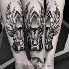 coolTop Animal Tattoo Designs - Stunning stag tattoo by Aleksandra Kozubska...