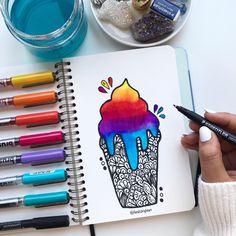 Easy Doodle Art, Doodle Art Drawing, Mandala Drawing, Watercolor Mandala, Watercolor Art, Art Drawings Sketches Simple, Colorful Drawings, Cute Drawings, Mandala Art Therapy