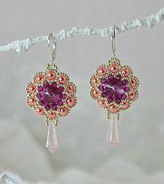 charoit / Šité náušnice, ružovo-fialové