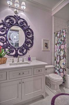 Bathroom colors, dream bathrooms, beautiful bathrooms, lavender bathroom, l Girl Bathrooms, Purple Bathrooms, Dream Bathrooms, Beautiful Bathrooms, Small Bathroom, White Bathroom, Girl Bathroom Ideas, Downstairs Bathroom, Relaxing Bathroom