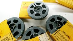 Moldy 8mm films reels, time to clean using Solvon Film Cleaner :]]