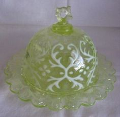 Sell one like this  ANTIQUE EAPG SPANISH LACE VASELINE OPALESCENT BUTTER DISH