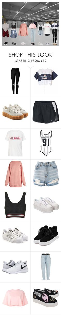 """""""Meow (야옹) - Stay Wild (와일드) - Dance Practice"""" by meowofficial ❤ liked on Polyvore featuring bleu, Puma, NIKE, Boohoo, Acne Studios, Topshop, River Island, Jeffrey Campbell, adidas Originals and WithChic"""