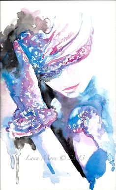 "Original Watercolor Painting Artwork Woman Fashion illustration "" Memories Wrapped In"" by Lana"