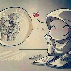 My dreams.In shaa Allah oneday! Cute Muslim Couples, Cute Couples, Hijab Drawing, Islam Marriage, Islamic Cartoon, Anime Muslim, Muslim Family, Love In Islam, Islamic Girl