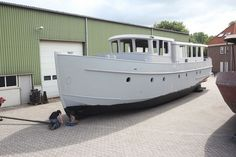 """Deck saloon """"New shell"""" Barges For Sale, Motor Cruiser, Narrowboat Interiors, Shanty Boat, Dutch Barge, Saloon, Deck, Motor Yacht, Boat Design"""