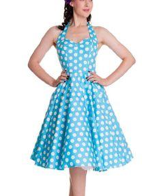 HELL BUNNY Polka Dot 50s Dress MARIAM Pin Up AQUA Blue White All Sizes