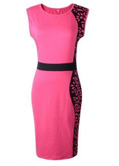 Fine Quality Sleeveless Round Neck Knee Length Dress - USD $22.21