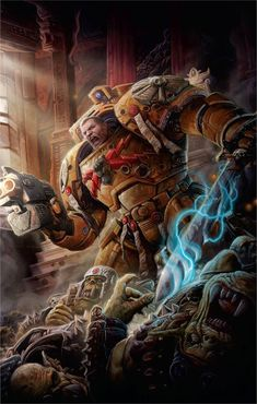 "The ""Last Son of Dorn"", Lord Commander of the Imperium Koorland leads the fight against The Beast Warhammer Fantasy, Warhammer 40k Art, Martial, Deathwatch, Imperial Fist, Space Wolves, Game Workshop, The Grim, Space Marine"