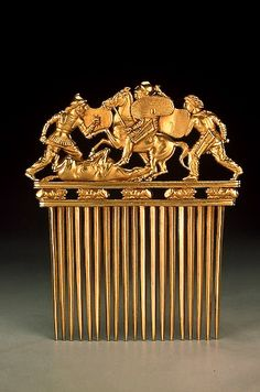 Gold Comb with Scythians in Battle, Late 5th - early 4th century BCE Russia (now Ukraine) The Hermitage Museum
