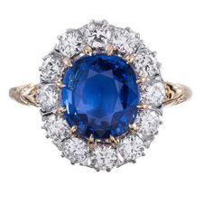 Pre-owned Classic Princess Diana Style  Sapphire Diamond Cluster Ring ($10,000) ❤ liked on Polyvore featuring jewelry, rings, cluster rings, victorian charm, antique jewelry, engagement rings, antique charms and pandora jewelry