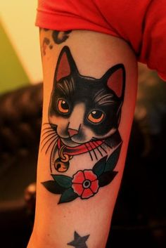Traditional style cat tattoo