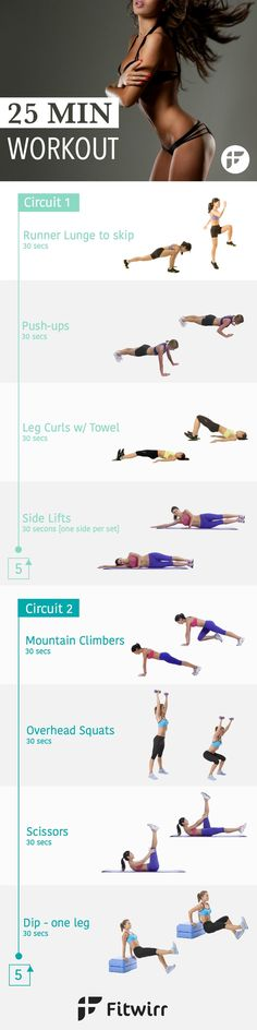 25 Minute Circuit Training for Women. Burn Calories, lose weight and improve your composition in just 25 minutes. No-gym, no equipment just your bodyweight.