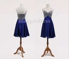 Elegant Short Royal Blue Sweetheart Beaded A Line Chiffon Party Grown Prom Dresses,Bridesmaid Dresses,Homecoming Dresses $99.00