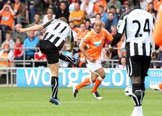 Blackpool 1 Newcastle Utd 1 in April 2011 at Bloomfield Road. Peter Lovenkrands opens the scoring on 17 minutes with a fine strike Blackpool, Newcastle, Football, Sports, Soccer, Hs Sports, Futbol, American Football, Sport