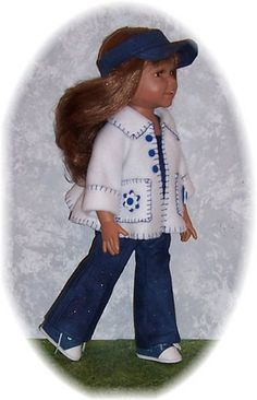 "Really like the embroidery on this fleece jacket; looks great with denim  18"" Euro Diana Doll ""Discontinued"" Plus Patterns for Sewing Her 8 Outfits ""LQQK"" 
