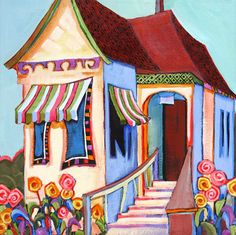 "Daily Painters Abstract Gallery: ""Cook Street Cottage,"" contemporary house painting by Carolee Clark, Oregon Artist"
