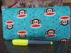 Julius the Monkey! Handcrafted Paul Frank Monkey Blue Zipper Pencil by AShop4Kicks, $9.00