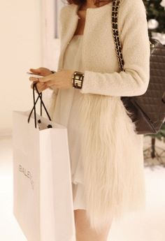 jacket, fashion, style, dress, outfit, white, fur, feather, coats