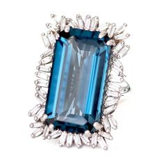 Suzanne Kalan blue topaz and diamond cocktail ring