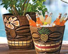 Tiki Flower Pots / Ice Buckets They may look like they were handcarved on some breezy tropical islan Tiki Hut, Décor Tiki, Tiki Party, Luau Party, Yard Party, Bars Tiki, Outdoor Tiki Bar, Tiki Bar Decor, Tiki Bar Stools