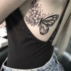 Tatuagem feminina, tatuagem, tatoo lace butterfly tattoo, butterfly tattoo on shoulder, spine Mini Tattoos, Body Art Tattoos, Small Tattoos, Tatoos, Tattoo Art, Thigh Tattoos, Top Tattoos, Maching Tattoos, Model Tattoo