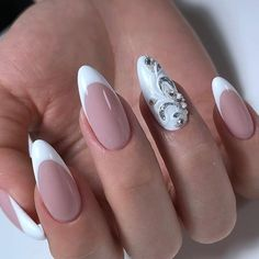 Square Nail Designs, Flower Nail Designs, Nail Art Designs, Gorgeous Nails, Pretty Nails, Pastel Pink Nails, Olive Nails, Vintage Nails, Bridal Nail Art