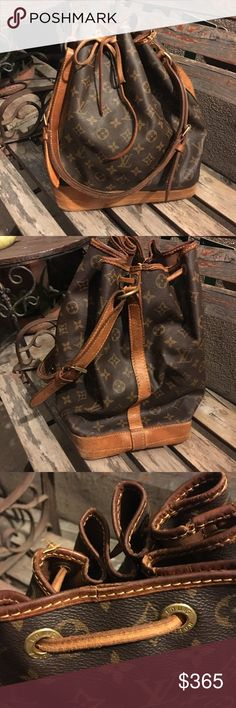 Authentic vintage Louis Vuitton Noe Authentic vintage Louis Vuitton Noe.  Extremely loved.  Aged leather, cracked in some spots.  Discolored hardware. Corner wear. Interior not stained but coming up in one area. Original drawstring. Authenticity code is FH8911 made in Malletier .  Dust bag not included. Please send all offers through the offer option.💛 no trades. No low ballers. Louis Vuitton Bags Shoulder Bags