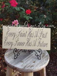 Items similar to Every Saint has a past Every Sinner has a future wood sign on Etsy Shotgun Shell Crafts, Wood Burning, Wood Signs, Past, Saints, Future, Canvas, Handmade Gifts, Ideas