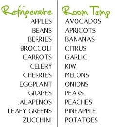 fruits and vegetables best to refrigerate or okay at room temp?