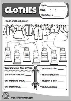 49 ideas clothes for kids english for 2019 English Activities For Kids, English Teaching Resources, English Worksheets For Kids, English Lessons For Kids, Kids English, 1st Grade Worksheets, School Worksheets, Education English, Book Activities