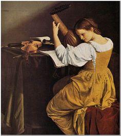 """Orazio Gentleschi (1563-1639) Lute Player Oil on canvas 1626 144 x 130 cm (56.69"""" x 51.18"""")"""