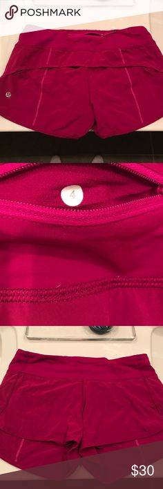 """Lululemon Speed Shorts Size 4, cranberry color, these are the 4-way stretch material so super stretchy. I believe they are a 2 1/2"""" inseam. I ripped the tag off but the size sticker is in the back zip pocket. Great for any workout. I take excellent care of all my Lulus- wash on gentle & hang to dry. lululemon athletica Shorts"""