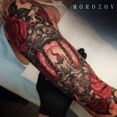 Tattoo Vitaliy Morozov - tattoo's photo In the style Neo-traditional, Female, Flowers, Differe Skull Tattoos, Rose Tattoos, Body Art Tattoos, Candle Tattoo, Lantern Tattoo, Art Flash, Close Up, Tattoo Arm Designs, Sweet Tattoos