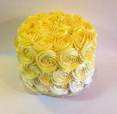 Ombre Rosette cake Round Birthday Cakes, Yellow Birthday Cakes, Round Cakes, Yellow Cakes, Cake Cookies, Cupcake Cakes, Cupcakes, One Layer Cakes, Pastries