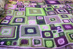 A Babette blanket that I crocheted for my daughter Crochet Afghans, Crochet Squares, Crochet Blankets, Baby Blankets, Crochet Yarn, Cascade 220, Types Of Craft, Crochet Things, Crochet Woman