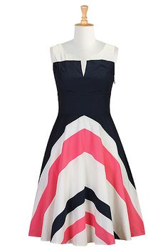 Chevron stripe colorblock dress - eShakti.com ( love that there's both pastel and bold versions of this dress!